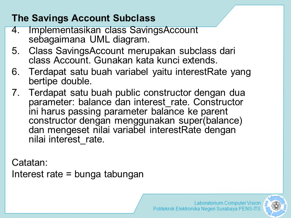 The Savings Account Subclass
