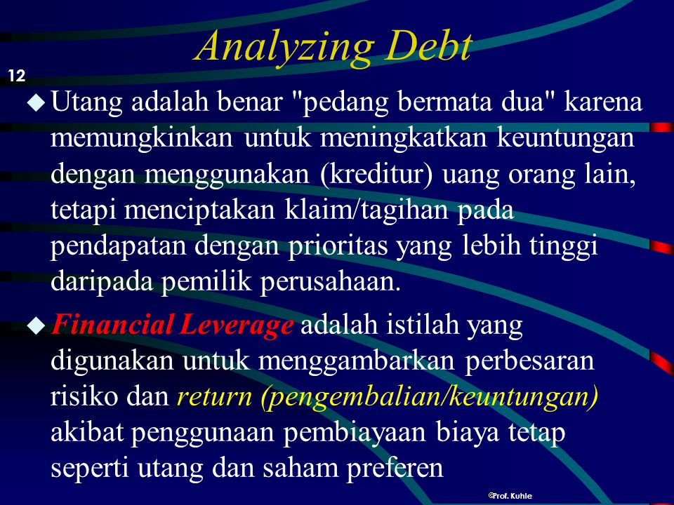 Analyzing Debt 12.