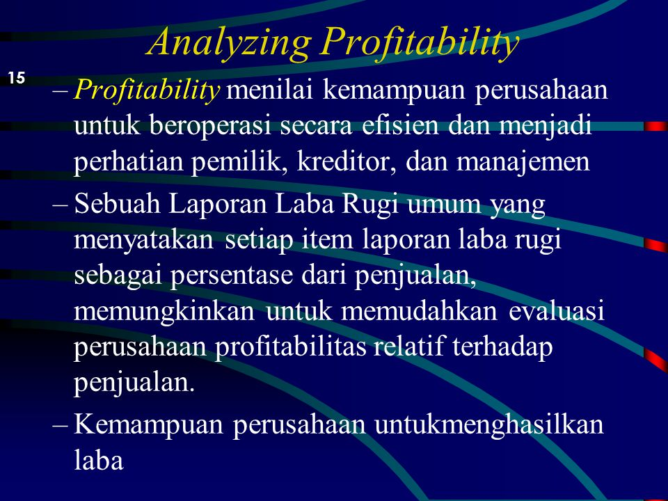 Analyzing Profitability