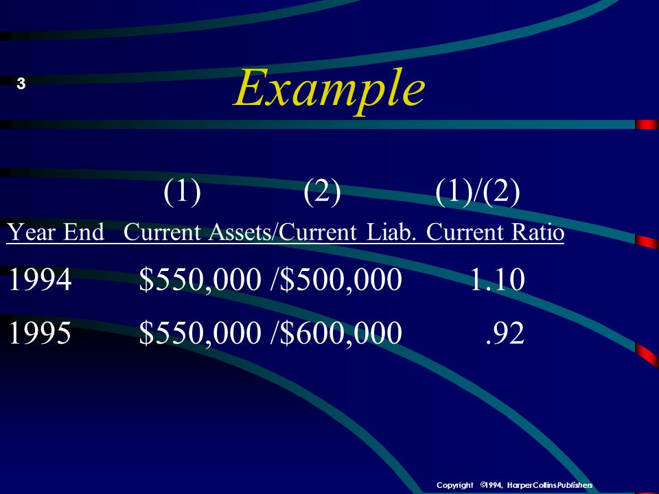 Example 3. (1) (2) (1)/(2) Year End Current Assets/Current Liab. Current Ratio. 1994 $550,000 /$500,000 1.10.