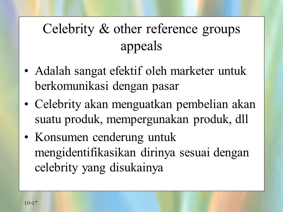 Celebrity & other reference groups appeals