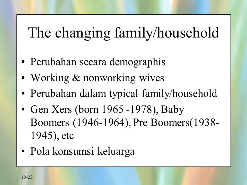 The changing family/household