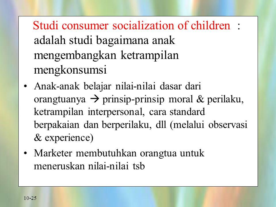 Studi consumer socialization of children : adalah studi bagaimana anak mengembangkan ketrampilan mengkonsumsi