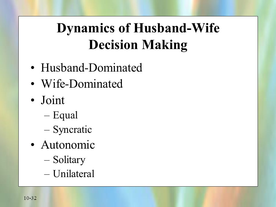 Dynamics of Husband-Wife Decision Making