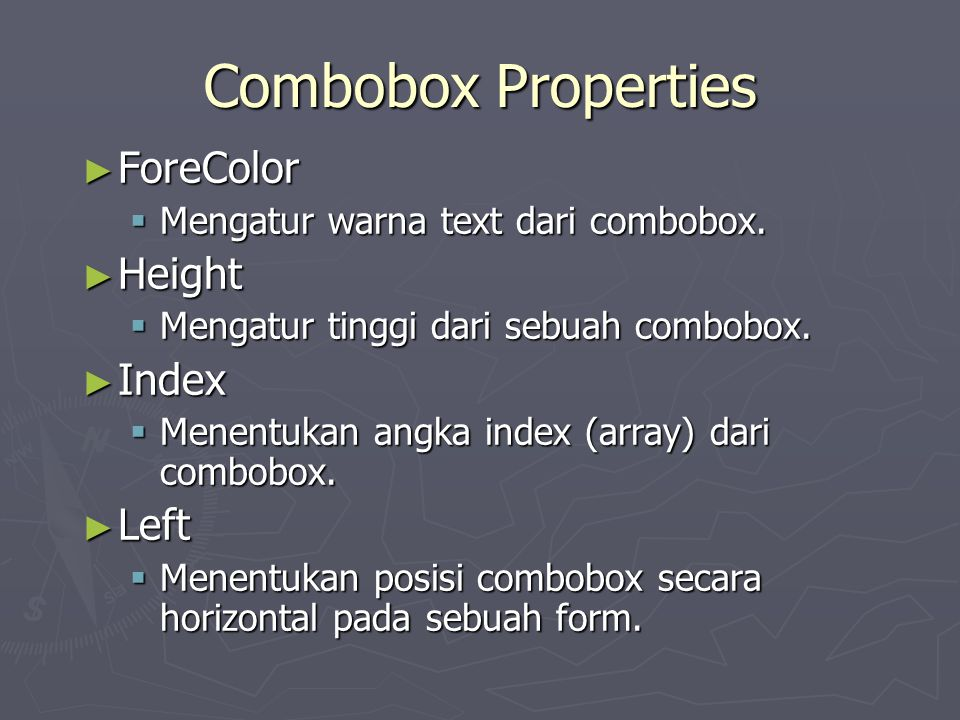 Combobox Properties ForeColor Height Index Left