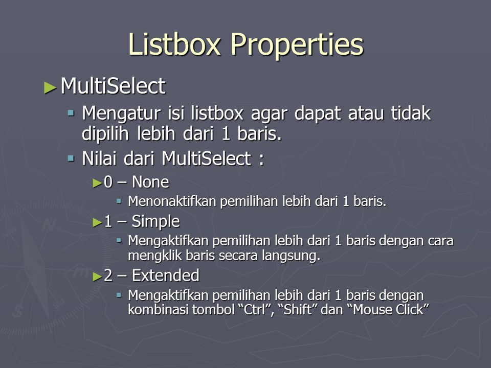 Listbox Properties MultiSelect