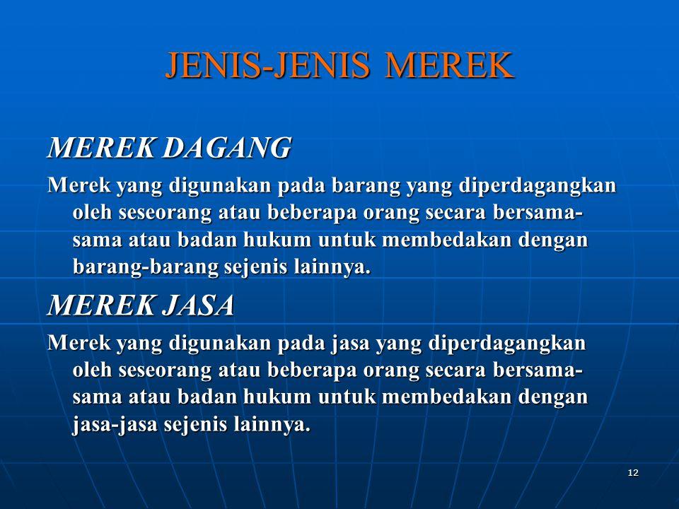 JENIS-JENIS MEREK MEREK DAGANG MEREK JASA