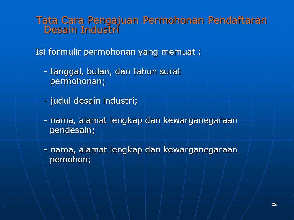 Tata Cara Pengajuan Permohonan Pendaftaran Desain Industri
