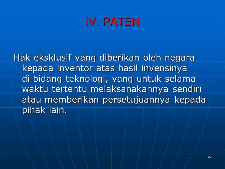 IV. PATEN