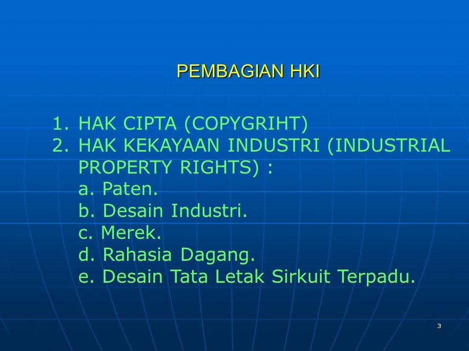 PEMBAGIAN HKI HAK CIPTA (COPYGRIHT) HAK KEKAYAAN INDUSTRI (INDUSTRIAL PROPERTY RIGHTS) : a. Paten.