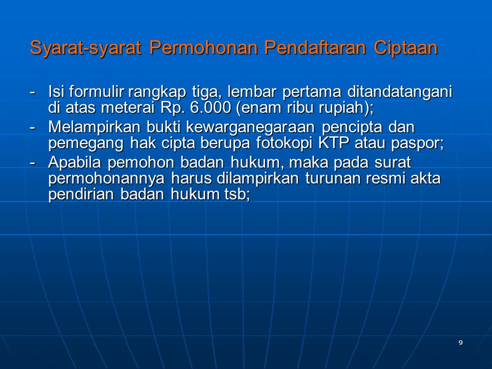 Syarat-syarat Permohonan Pendaftaran Ciptaan