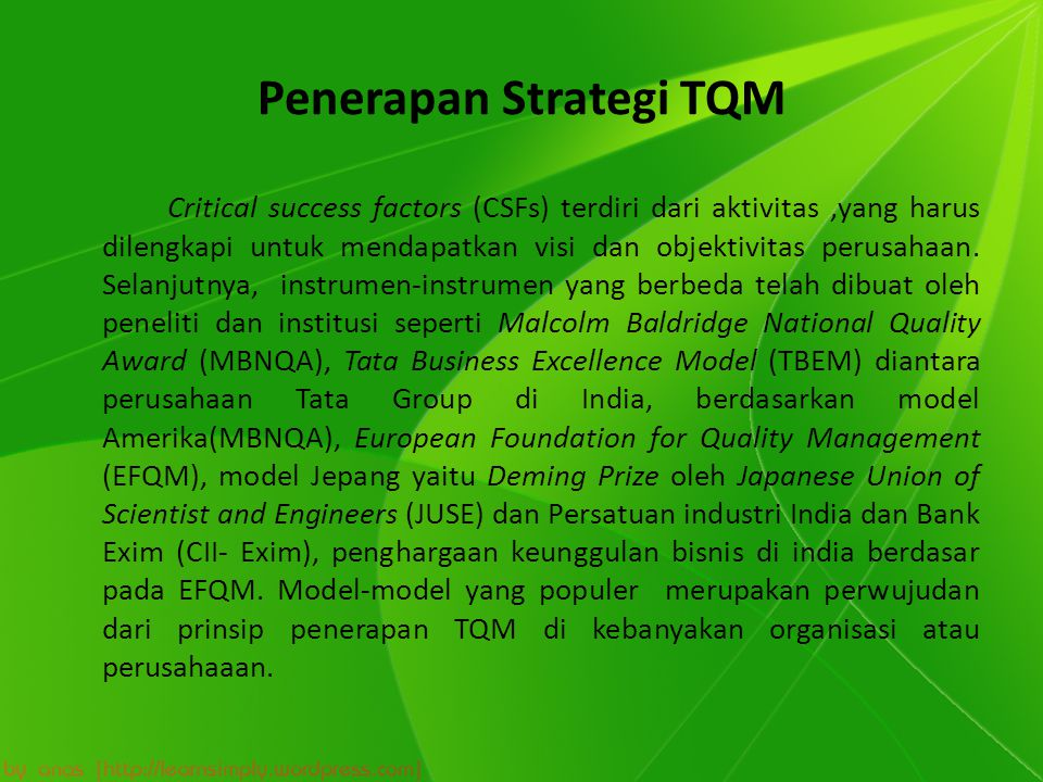 Penerapan Strategi TQM