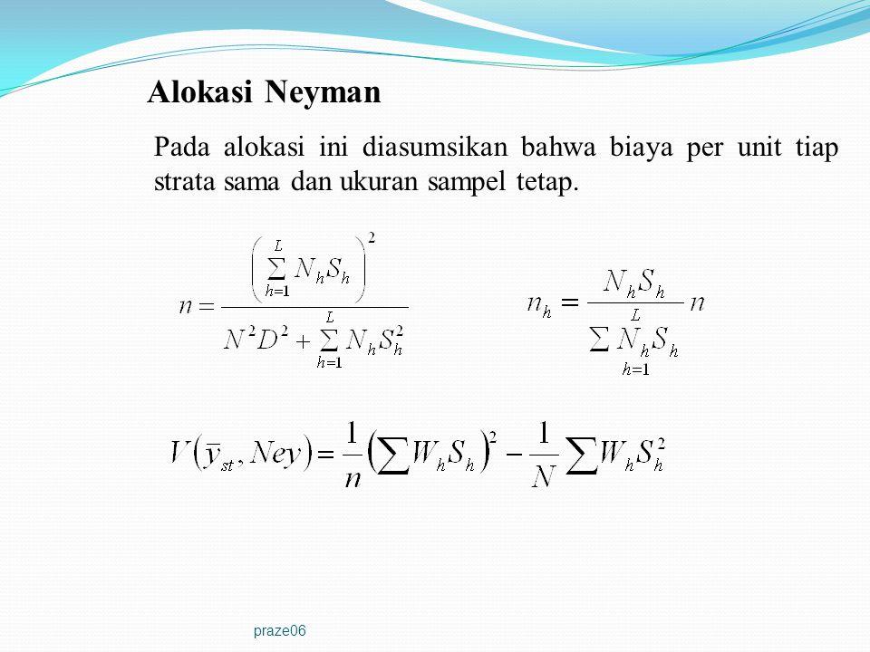 Alokasi Neyman Pada alokasi ini diasumsikan bahwa biaya per unit tiap strata sama dan ukuran sampel tetap.