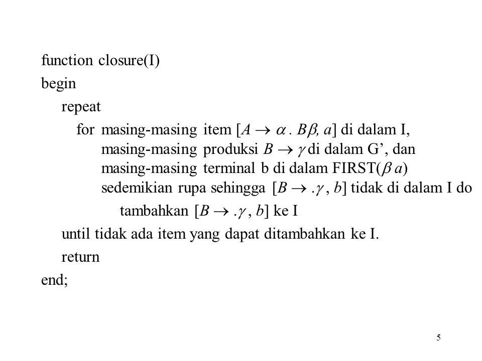 function closure(I) begin. repeat.