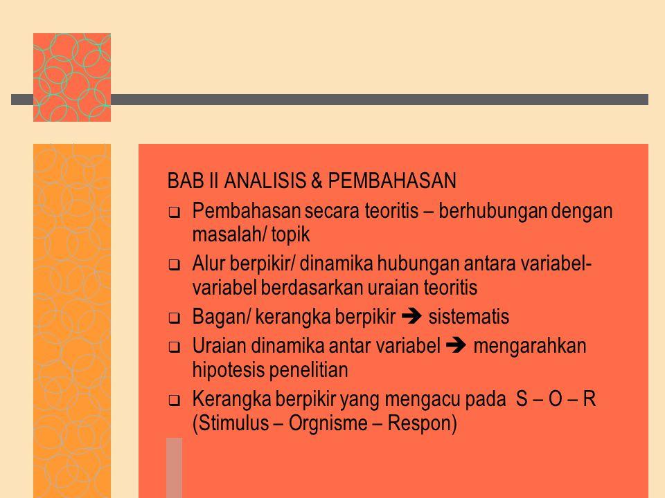 BAB II ANALISIS & PEMBAHASAN
