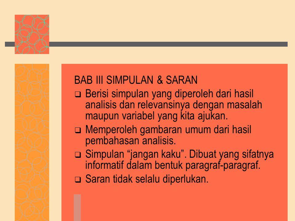 BAB III SIMPULAN & SARAN