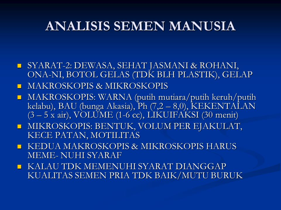 ANALISIS SEMEN MANUSIA