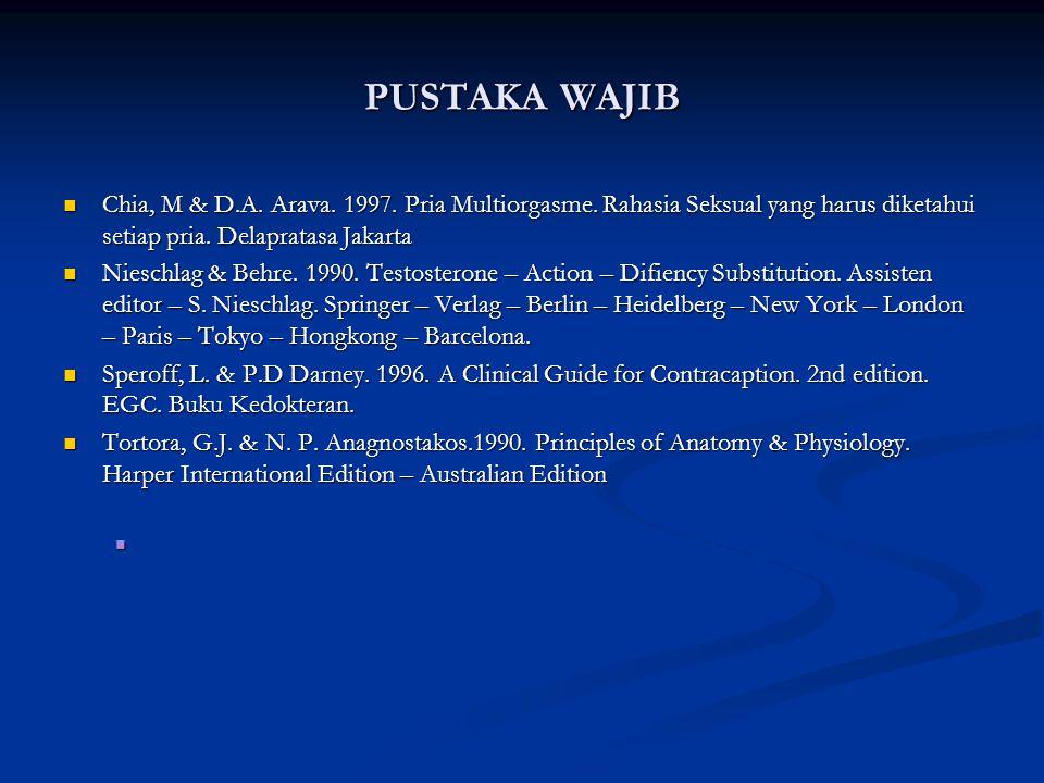 PUSTAKA WAJIB Chia, M & D.A. Arava. 1997. Pria Multiorgasme. Rahasia Seksual yang harus diketahui setiap pria. Delapratasa Jakarta.