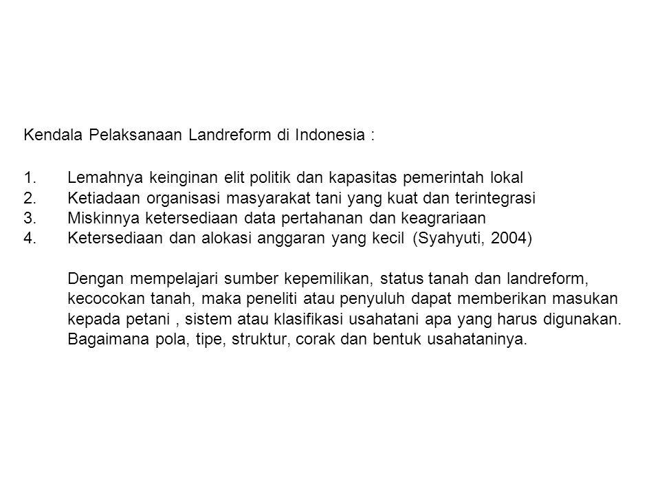 Kendala Pelaksanaan Landreform di Indonesia :