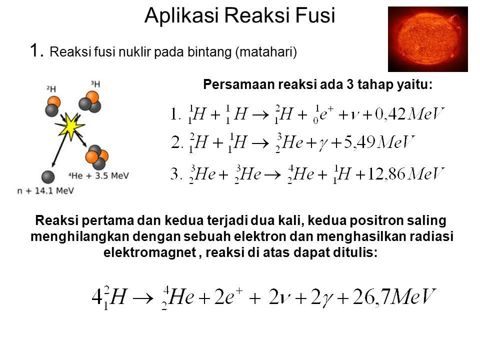 Aplikasi Reaksi Fusi 1. Reaksi fusi nuklir pada bintang (matahari)