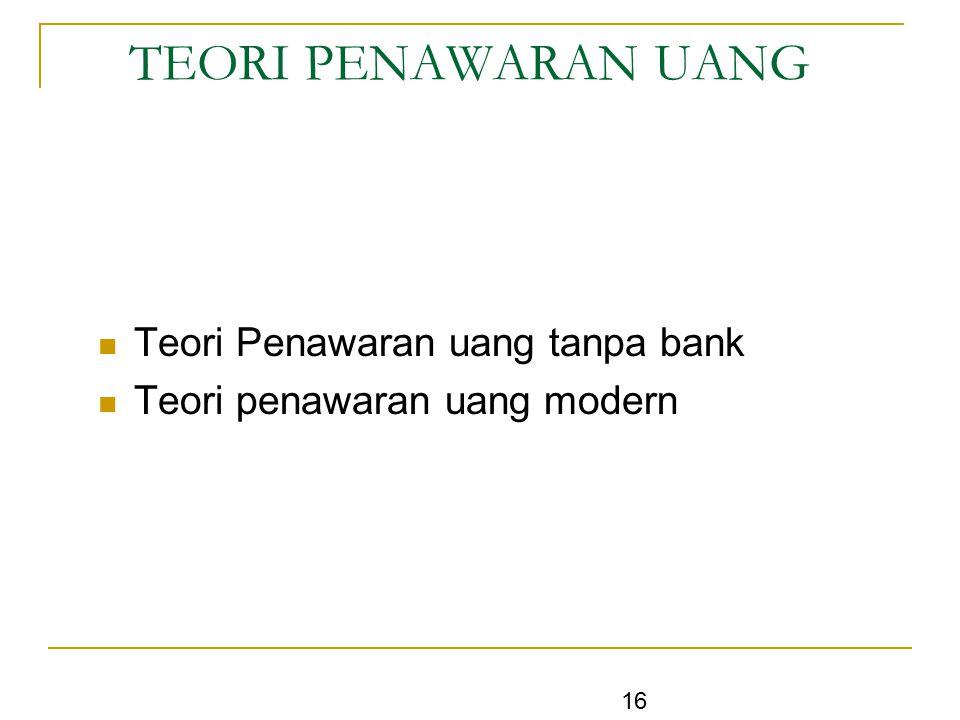 TEORI PENAWARAN UANG Teori Penawaran uang tanpa bank