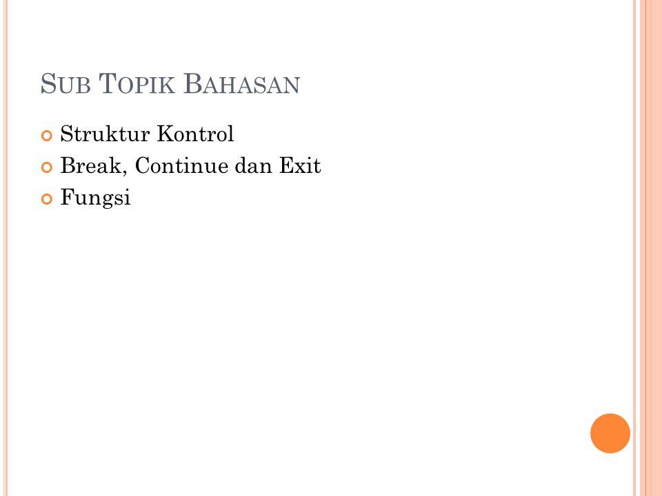 Sub Topik Bahasan Struktur Kontrol Break, Continue dan Exit Fungsi