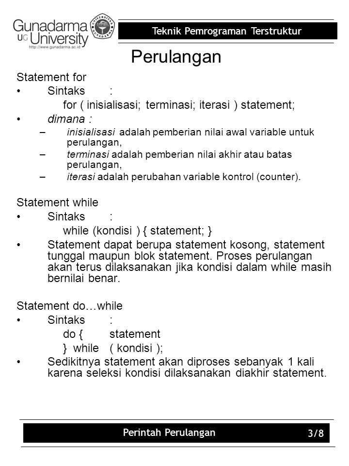 Perulangan Statement for Sintaks :