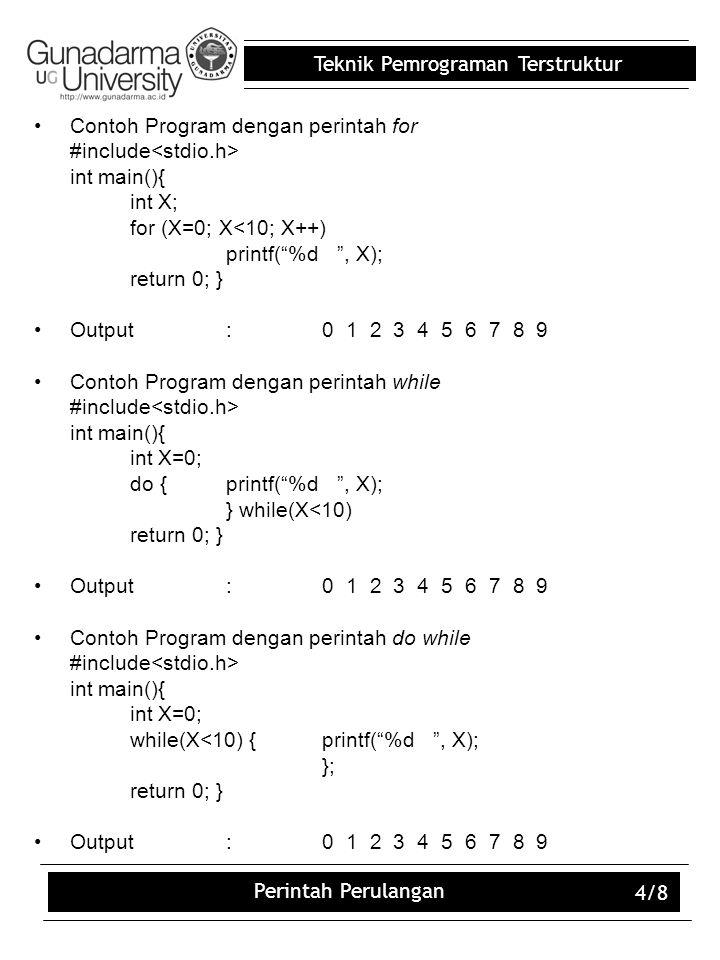 Contoh Program dengan perintah for