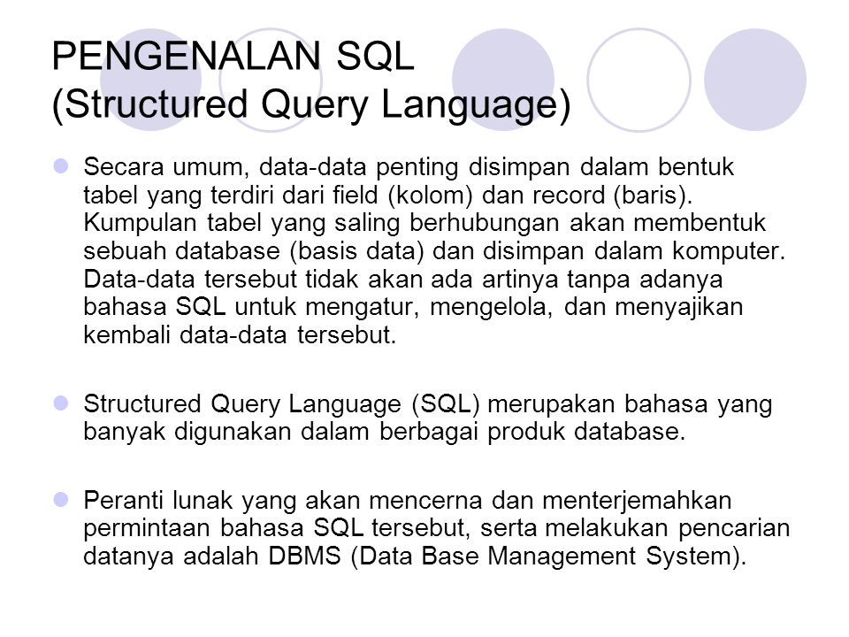 PENGENALAN SQL (Structured Query Language)