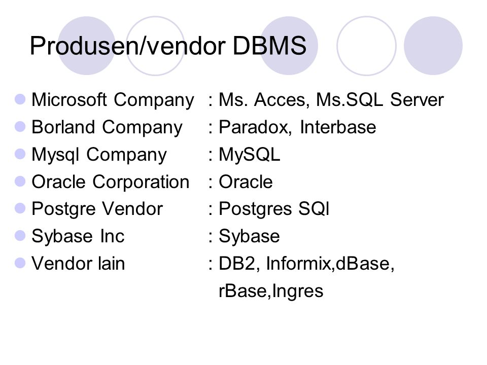 Produsen/vendor DBMS Microsoft Company : Ms. Acces, Ms.SQL Server