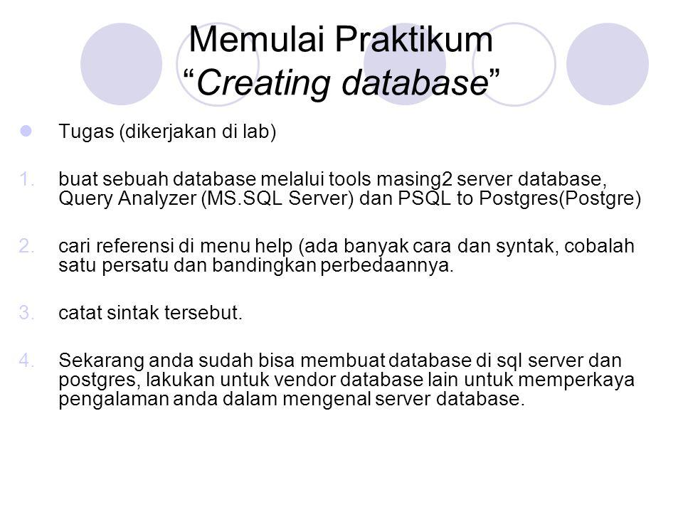 Memulai Praktikum Creating database