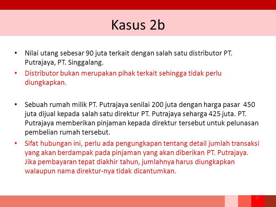 Kasus 2b Nilai utang sebesar 90 juta terkait dengan salah satu distributor PT. Putrajaya, PT. Singgalang.