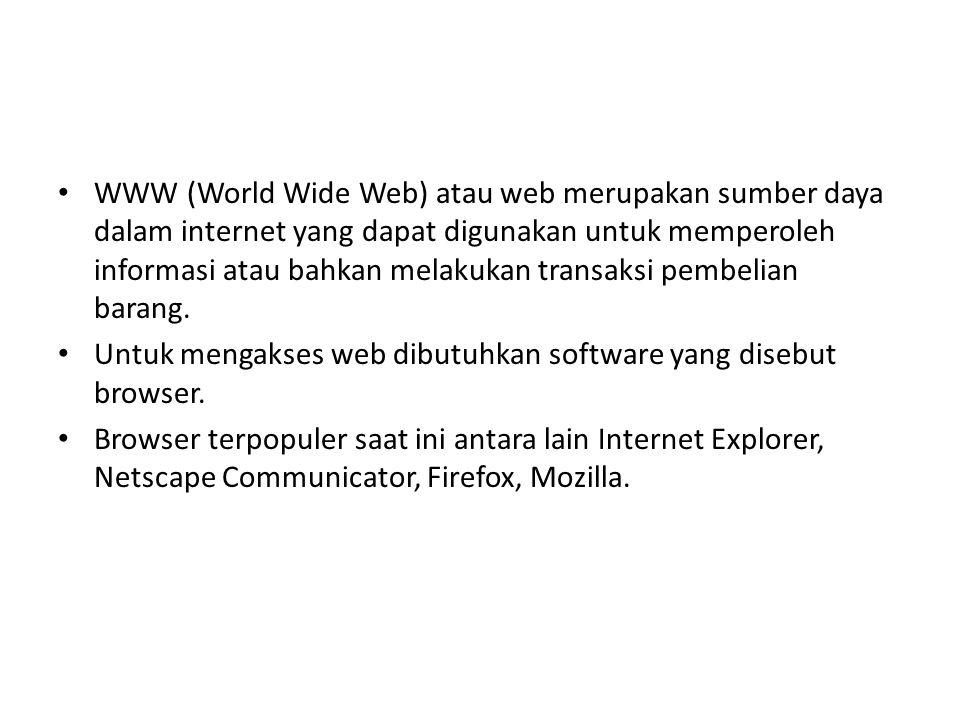 WWW (World Wide Web) atau web merupakan sumber daya dalam internet yang dapat digunakan untuk memperoleh informasi atau bahkan melakukan transaksi pembelian barang.