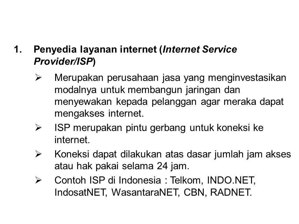 Penyedia layanan internet (Internet Service Provider/ISP)