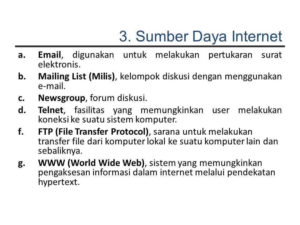 3. Sumber Daya Internet Email, digunakan untuk melakukan pertukaran surat elektronis.