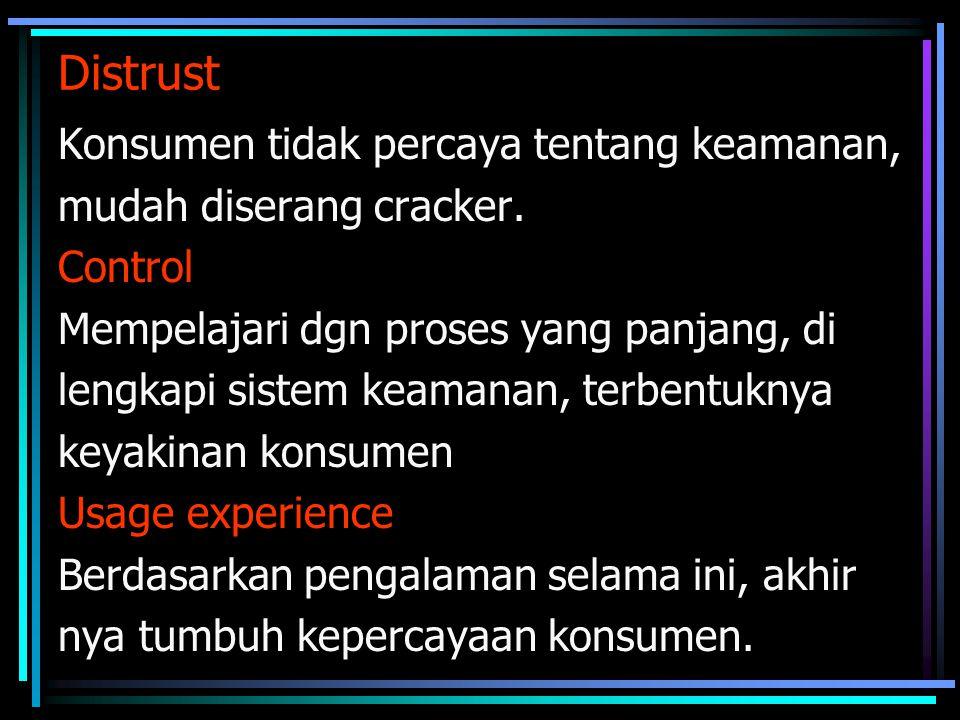 Distrust Konsumen tidak percaya tentang keamanan,