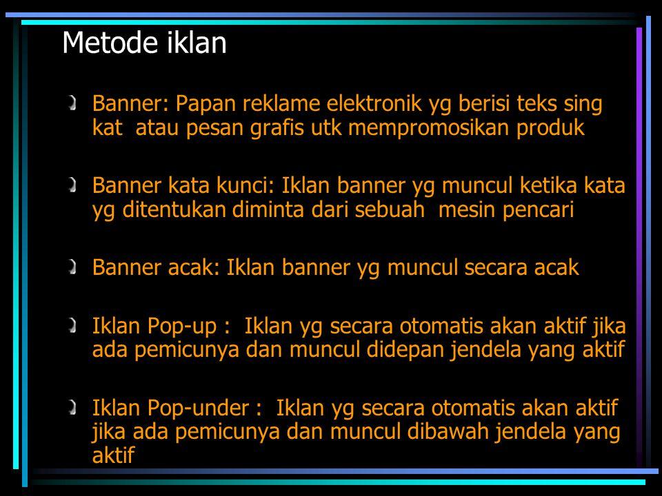 Metode iklan Banner: Papan reklame elektronik yg berisi teks sing kat atau pesan grafis utk mempromosikan produk.