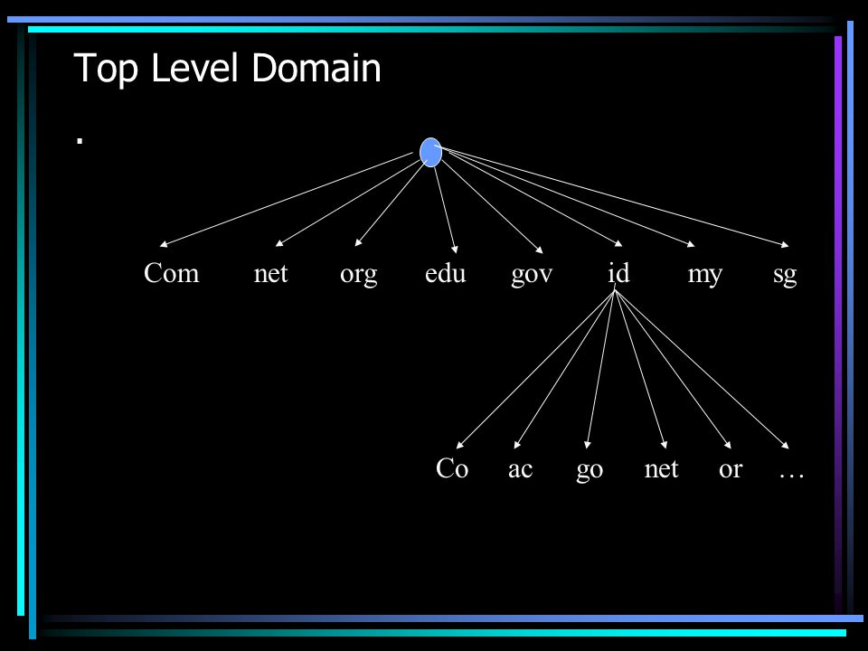 Top Level Domain . Com net org edu gov id my sg Co ac go net or …