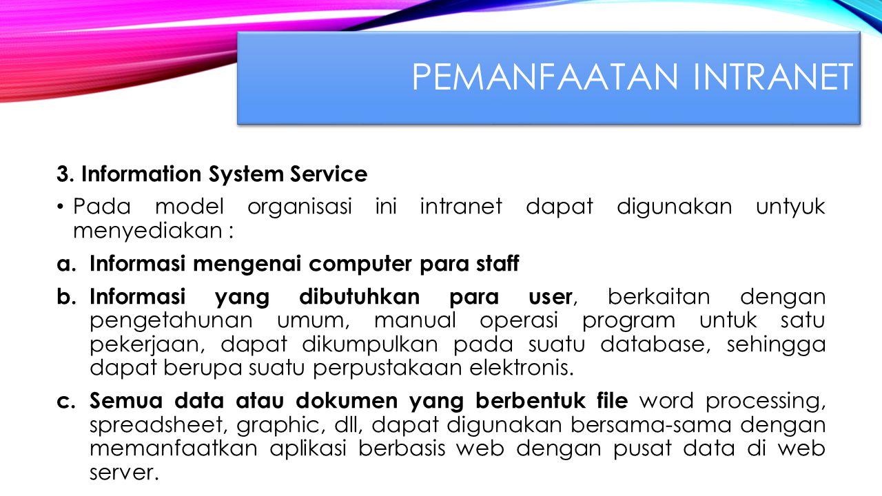 Pemanfaatan INTRANET 3. Information System Service