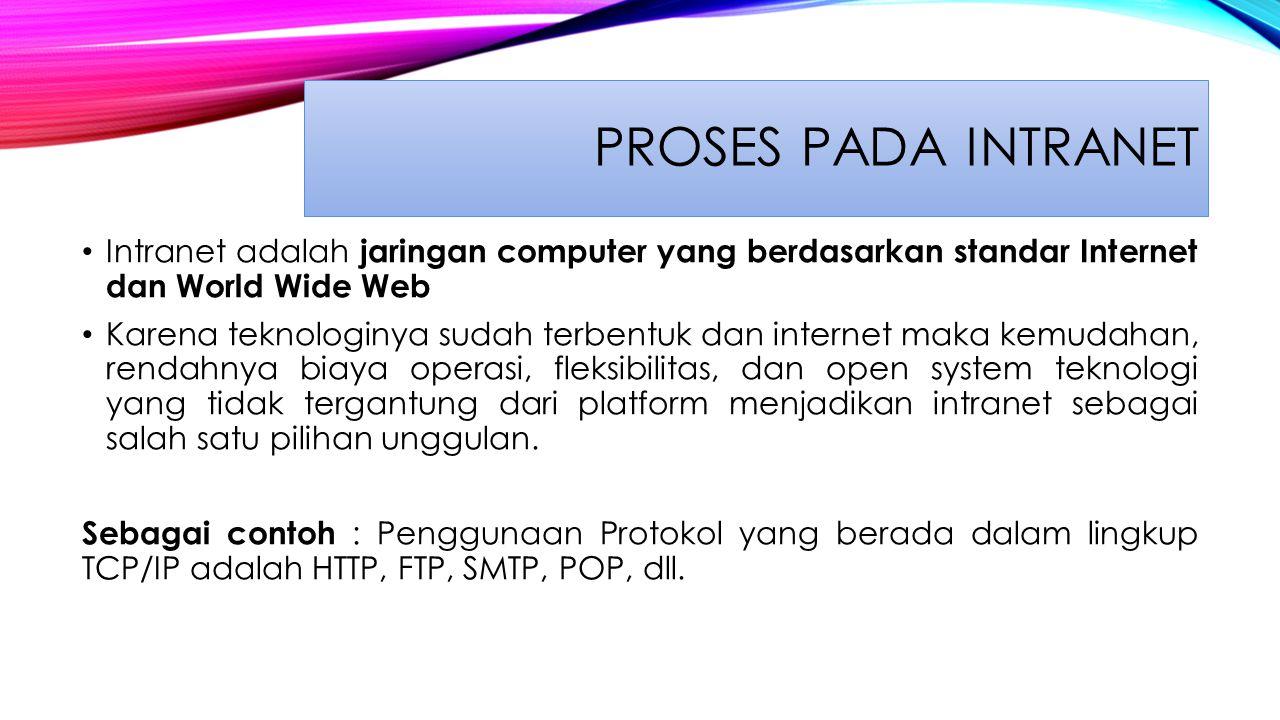 Proses Pada Intranet Intranet adalah jaringan computer yang berdasarkan standar Internet dan World Wide Web.
