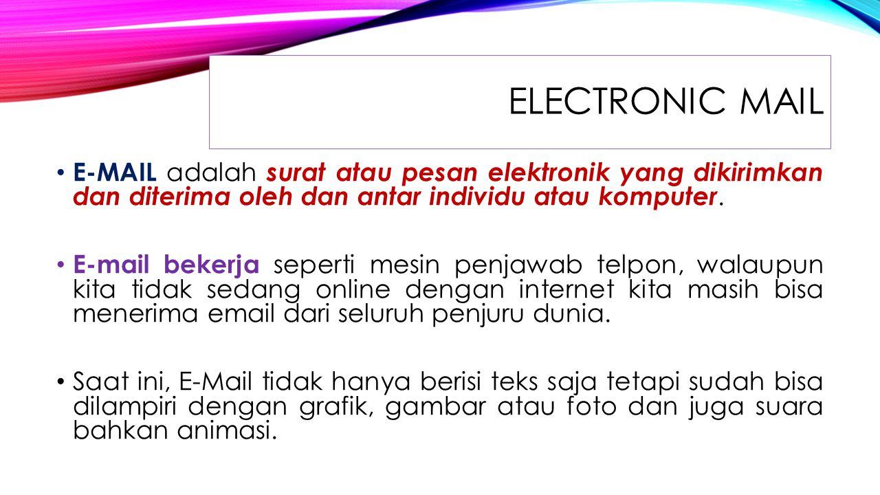 ELECTRONIC MAIL E-MAIL adalah surat atau pesan elektronik yang dikirimkan dan diterima oleh dan antar individu atau komputer.