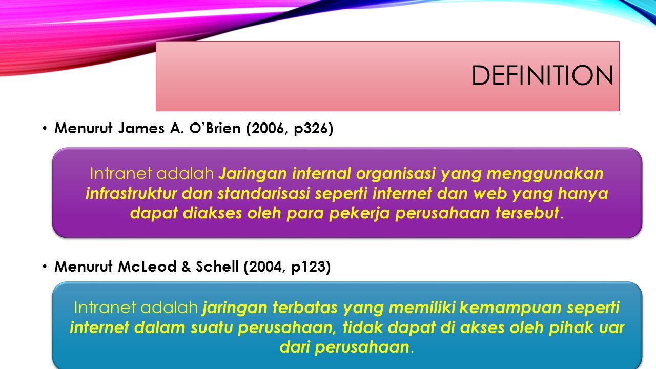 definition Menurut James A. O'Brien (2006, p326) Menurut McLeod & Schell (2004, p123)