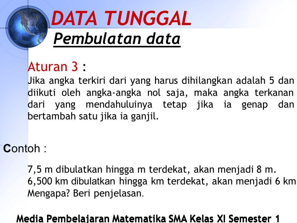 DATA TUNGGAL Pembulatan data Aturan 3 : Contoh :