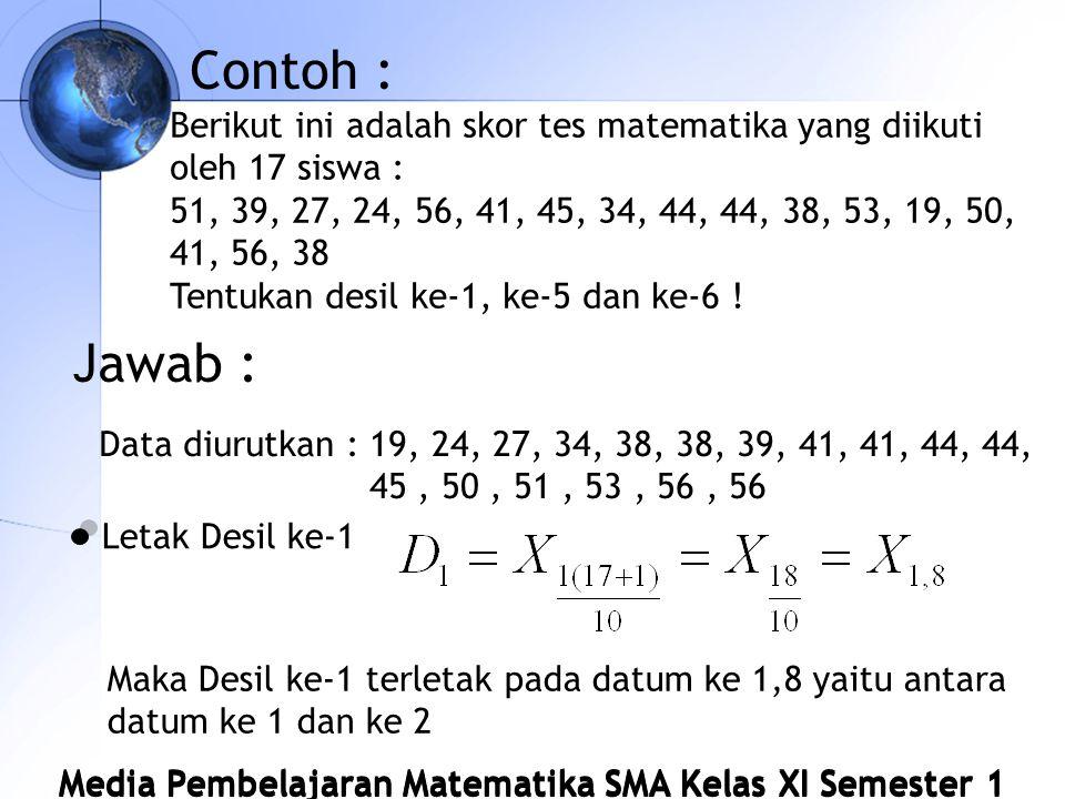 Contoh : Berikut ini adalah skor tes matematika yang diikuti oleh 17 siswa : 51, 39, 27, 24, 56, 41, 45, 34, 44, 44, 38, 53, 19, 50, 41, 56, 38.