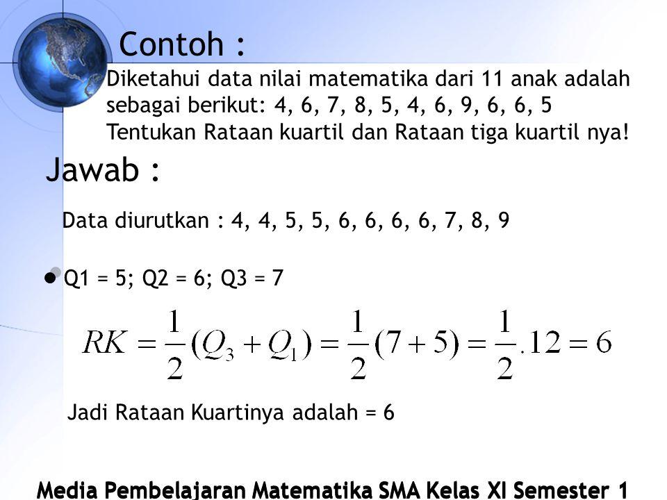 Contoh : Diketahui data nilai matematika dari 11 anak adalah sebagai berikut: 4, 6, 7, 8, 5, 4, 6, 9, 6, 6, 5.
