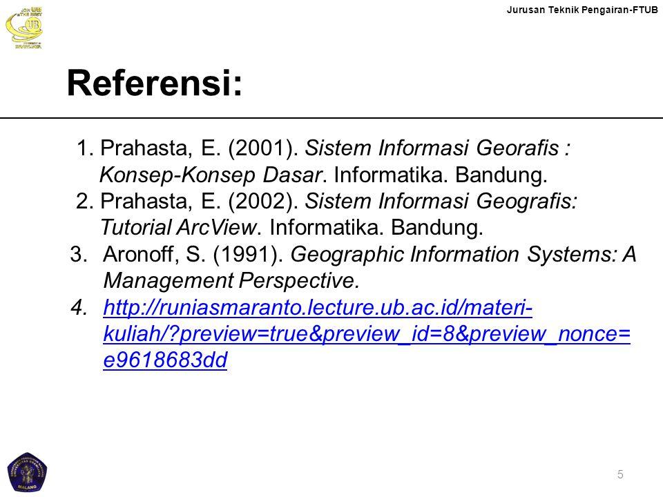 Referensi: 1. Prahasta, E. (2001). Sistem Informasi Georafis : Konsep-Konsep Dasar. Informatika. Bandung.