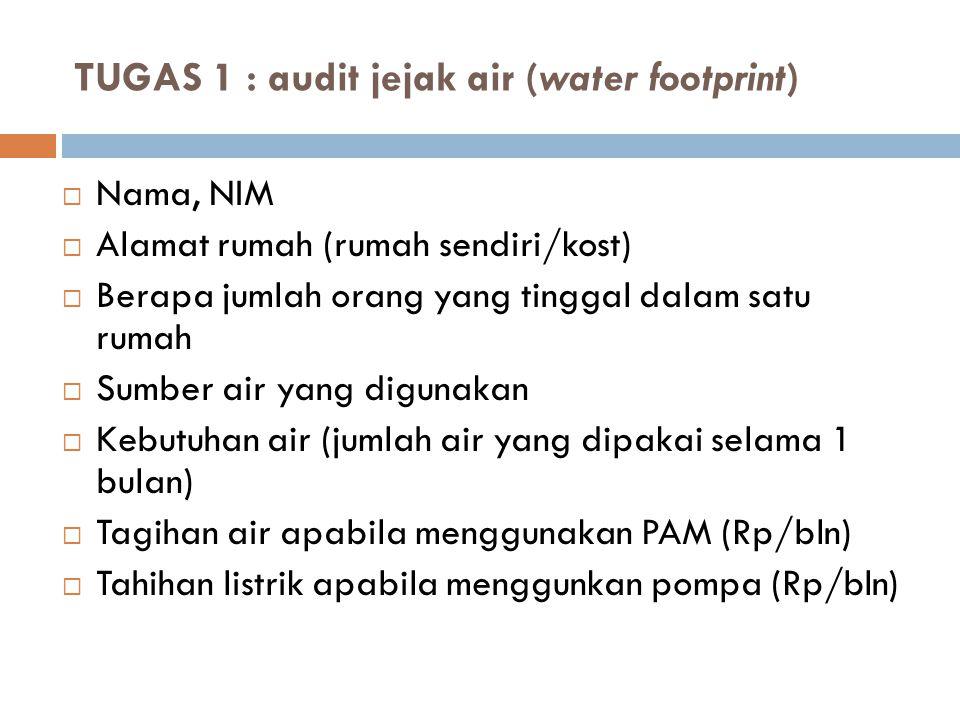 TUGAS 1 : audit jejak air (water footprint)