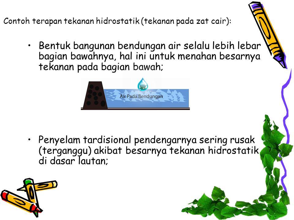 Contoh terapan tekanan hidrostatik (tekanan pada zat cair):