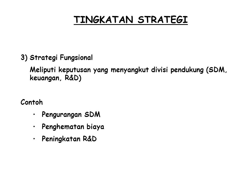 TINGKATAN STRATEGI Strategi Fungsional