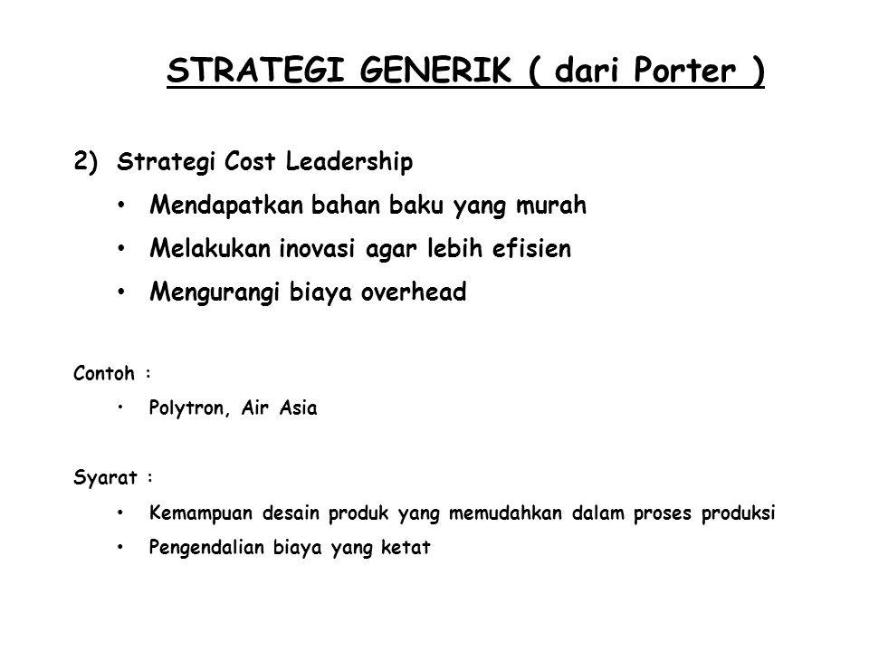 STRATEGI GENERIK ( dari Porter )